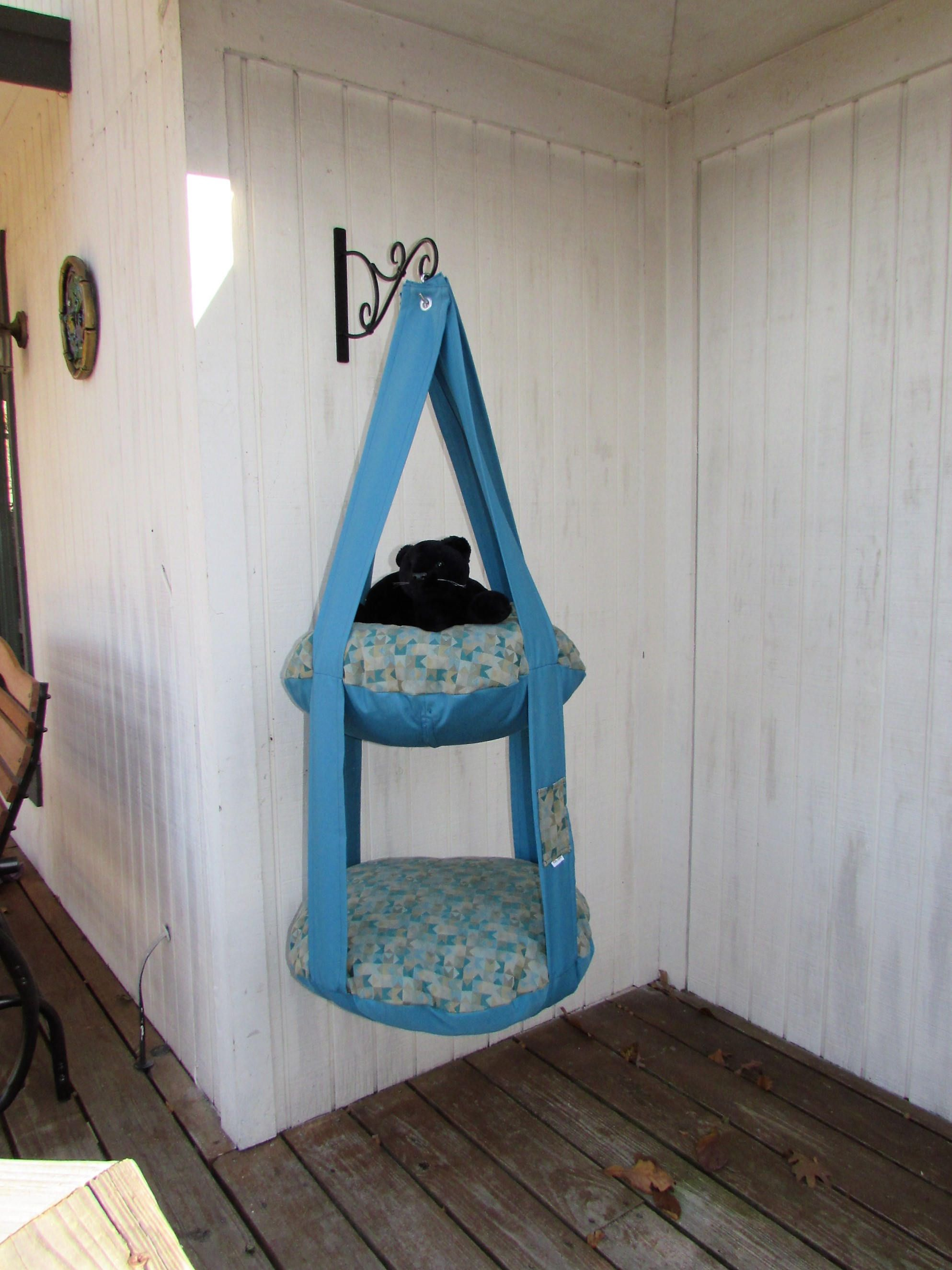 Pet Gift Cat Bed Kitty Cloud Hanging Cat Bed Double Cat Bed Teal Geometric Print Pet Furniture Cat Tree Catio