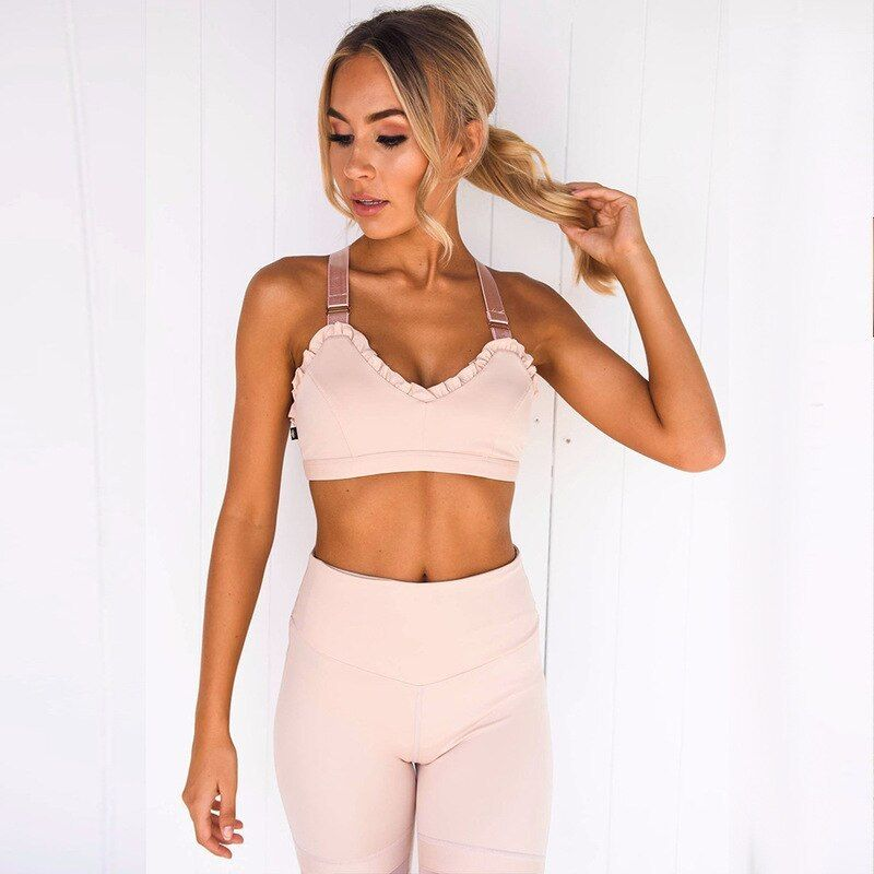 2019 Workout Tracksuit For Women Two Piece Sport Suit Sports Bra  Yoga Pants Sportswear Gym Fitness...