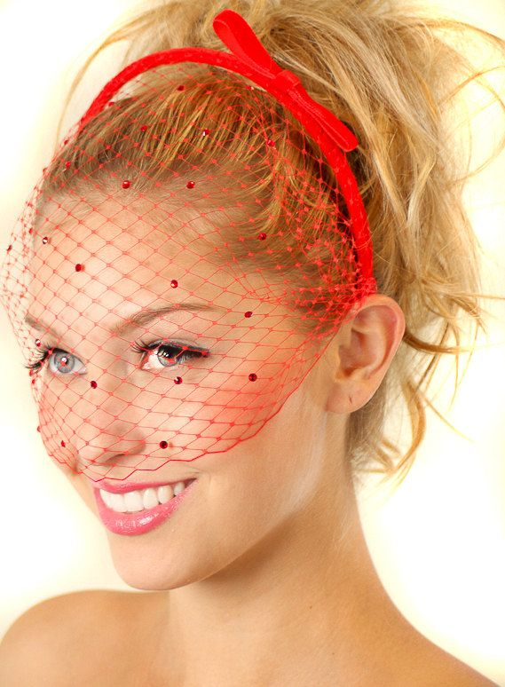 Red Bow Headband With Birdcage Veil Everywhere