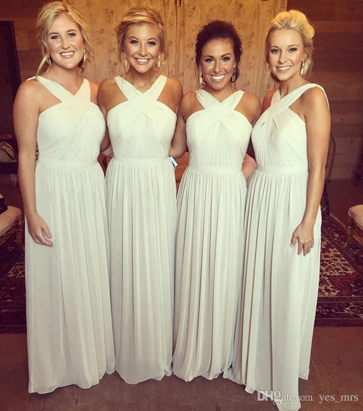 Summer Beach Bridesmaid Dresses 2017 Y For Weddings V Neck Chiffon Party Dress Long Floor Length Plus Size Maid Of Honor Gowns
