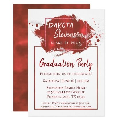 Crimson Graduation Red Paint Splatter Grad Party Card Invitation