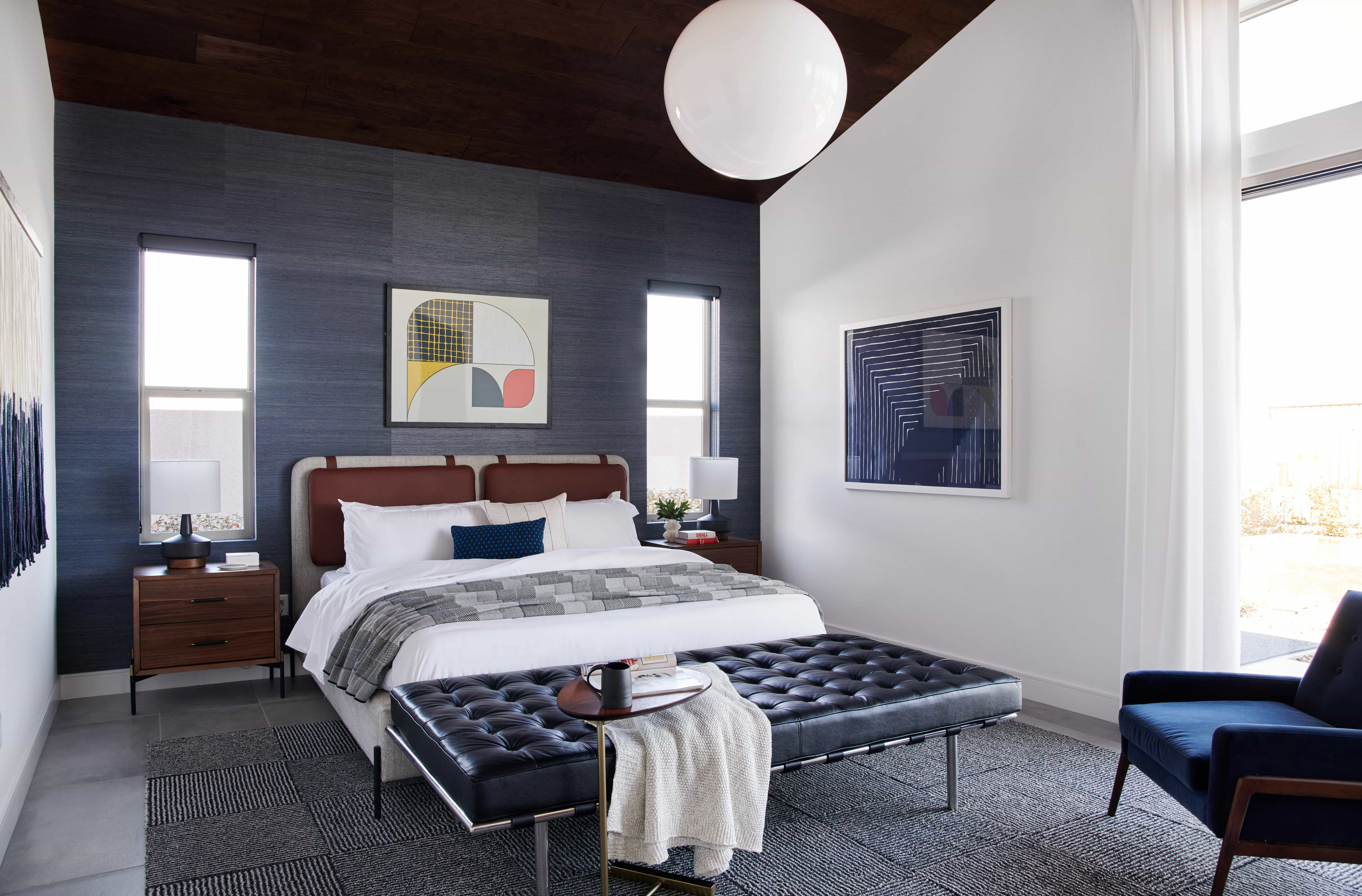 Midcentury modernized master bedroom bathroom and