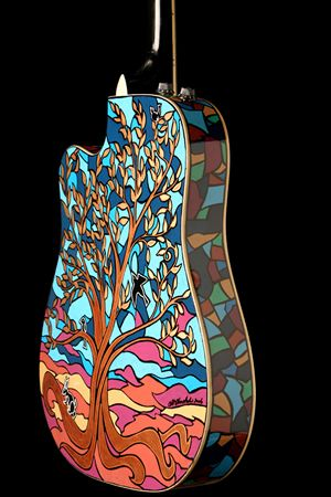 ding, ding, ding, I think we have a WINNER! Gorgeous tree mosaic art on a guitar!