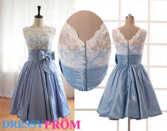 Cheap Wedding Dresses Lace: Affordable Blue Lace Bridesmaid Dresses-Modest Cheap