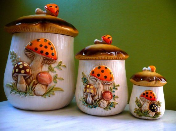1970s Sears Merry Mushroom Kitchen Canister Set By Twolittleow My Childhood Memories Kitchen Canister Sets Stuffed Mushrooms