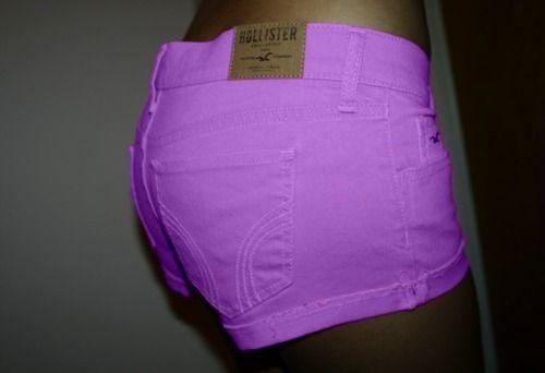 purple hollister shorts