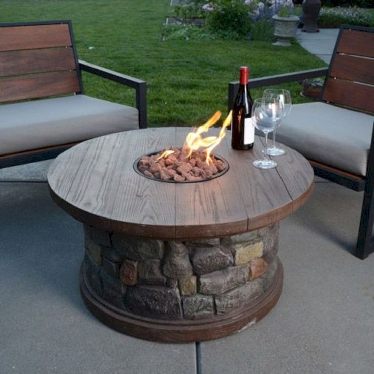 43 DIY Project Fire Pit Table Top To Decorate Your House In Winter -
