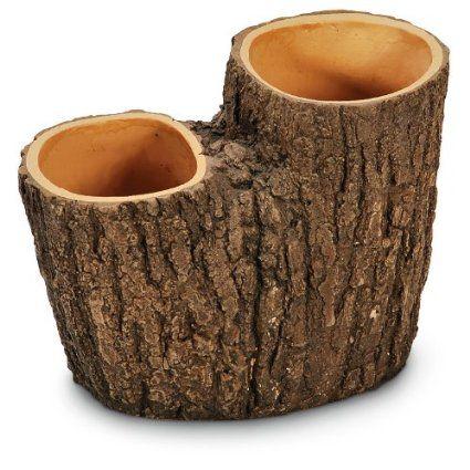 maceta de poliresina resistente con forma de tronco de Árbol