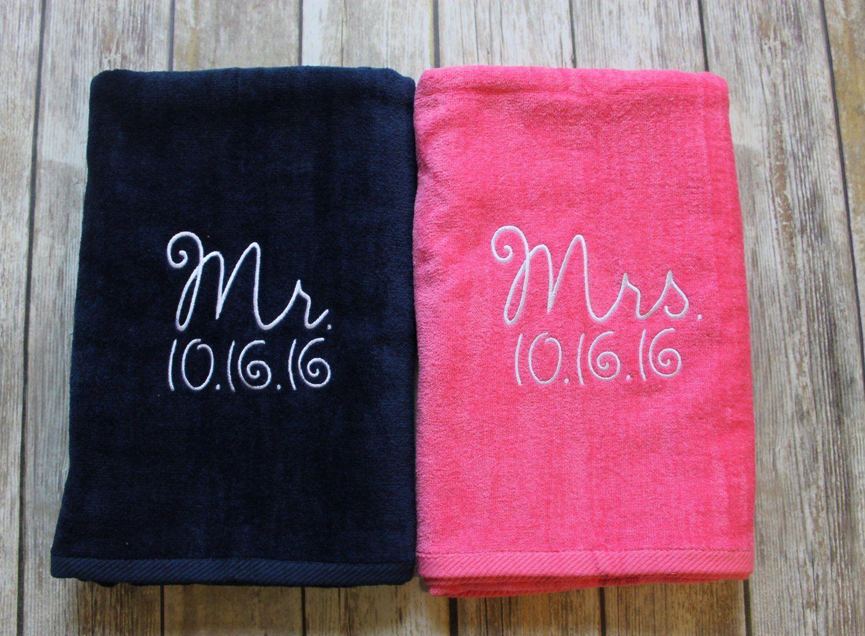 Mr & Mrs Beach Towel Gift Set Navy Blue and Pink Towel   Wedding Fun ...