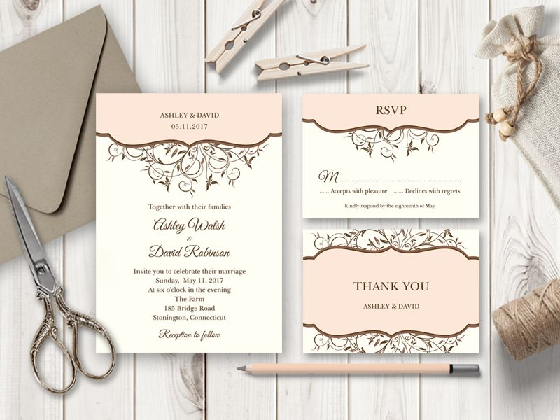 Spring Vines Peach Wedding Invitation Set 席札 Pinterest - Printable wedding invitation templates