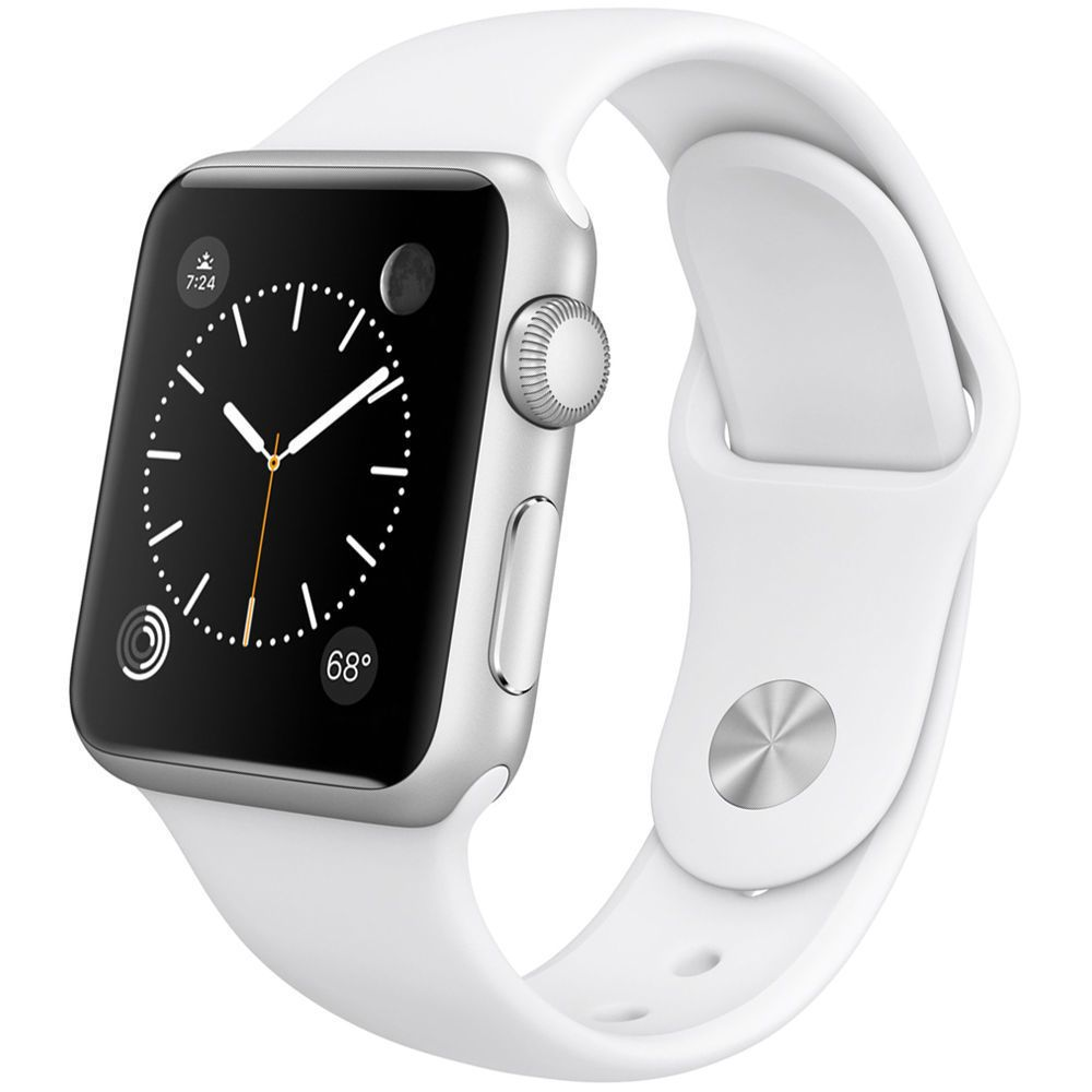 NEW APPLE WATCH 38MM SILVER ALUMINUM CASE WITH WHITE SPORT