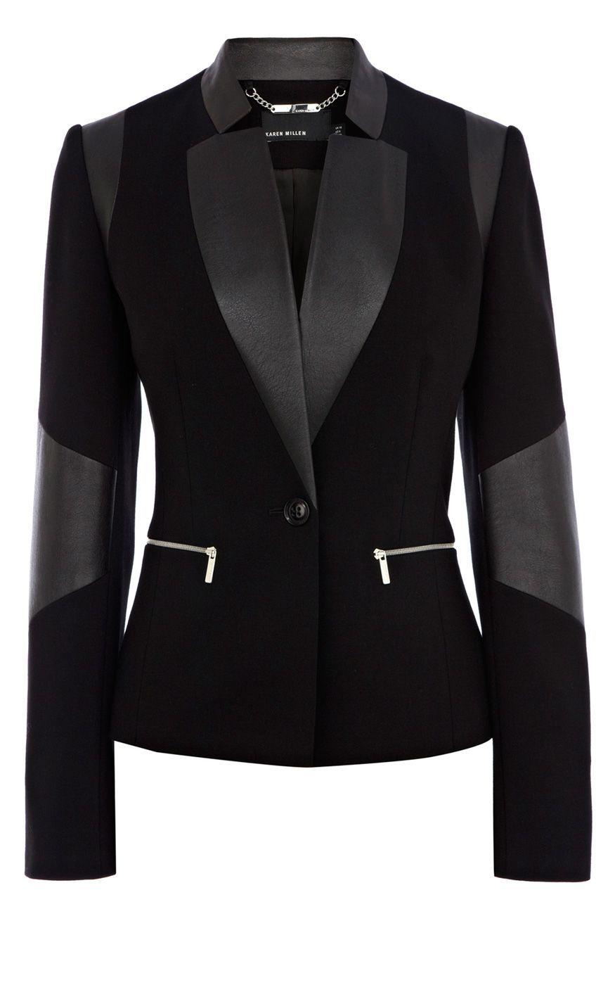 Leather jacket hoi an - Karen Millen Faux Leather Jersey Blazer