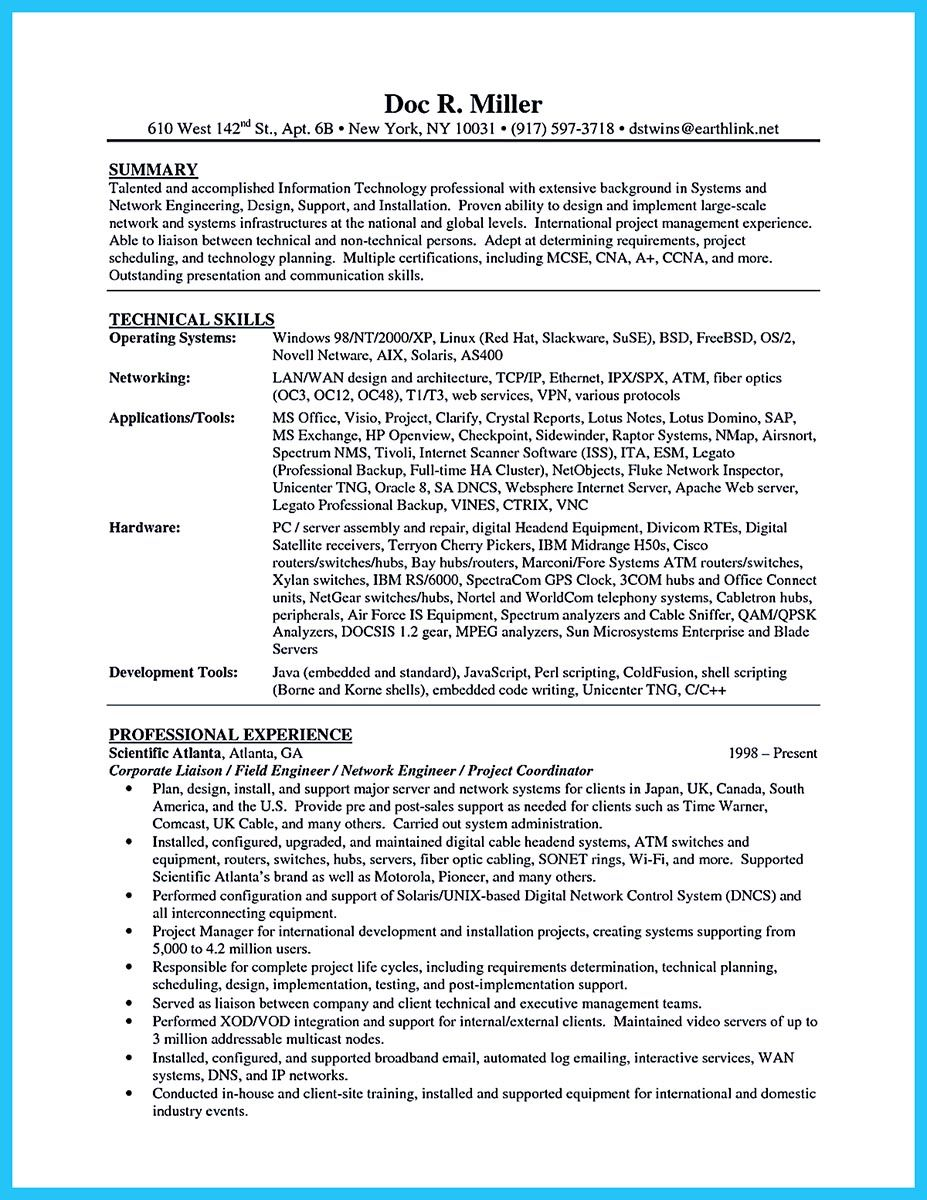 Network Technician Sample Resume Are You Trying To Make The Best Cable Technician Resume Ever If So .