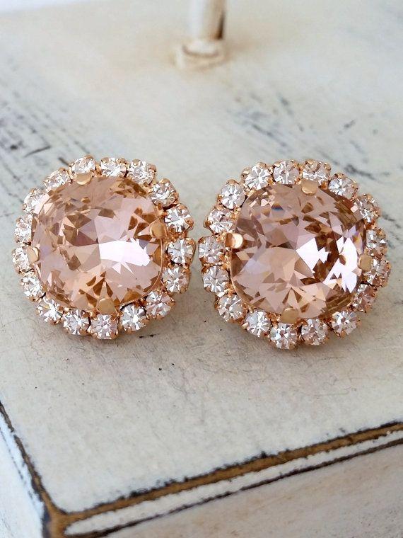 Rose Gold Blush Pink Crystal Stud Earrings By Eldortinajewelry