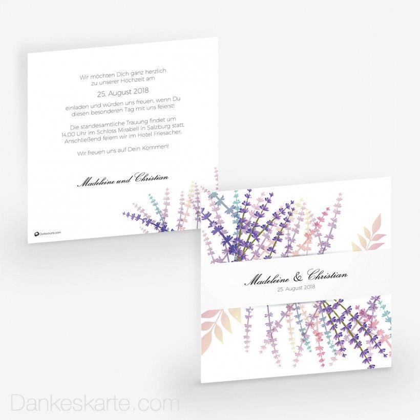 Hochzeitseinladung Lavendel Zweige 14 5 X 14 5 Cm Wedding