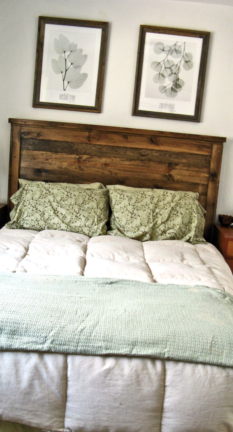 First Project Reclaimed Wood Look Queen Headboard Made It While My Toddler Was Ning Stained Dark Walnut Easy To Make Diy Plans Tutorial