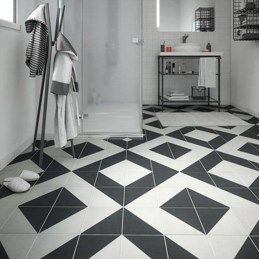 Carrelage sol et mur noir blanc effet ciment Dément l.20 x L ...