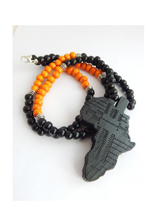 Africa necklace mens african necklace wood beaded necklace black africa necklace mens african necklace wood beaded necklace black brown hip hop afrocentric wooden motherland africa shape map africa pendant aloadofball Image collections