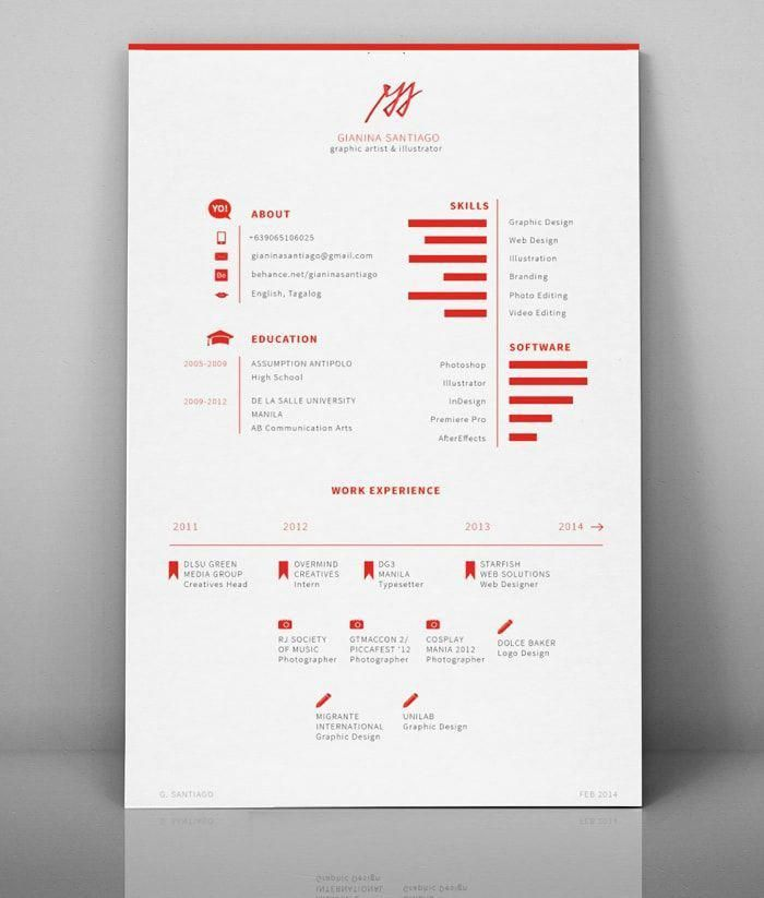 50 inspiring resume designs And what you can learn from them - Resume design creative, Graphic design resume, Resume design, Graphic design cv, Graphic resume, Self branding - Your resume or CV may be one of the most important projects you ever design  Get inspired by these 50 resume designs and discover these easy tips and tricks that can help get you hired