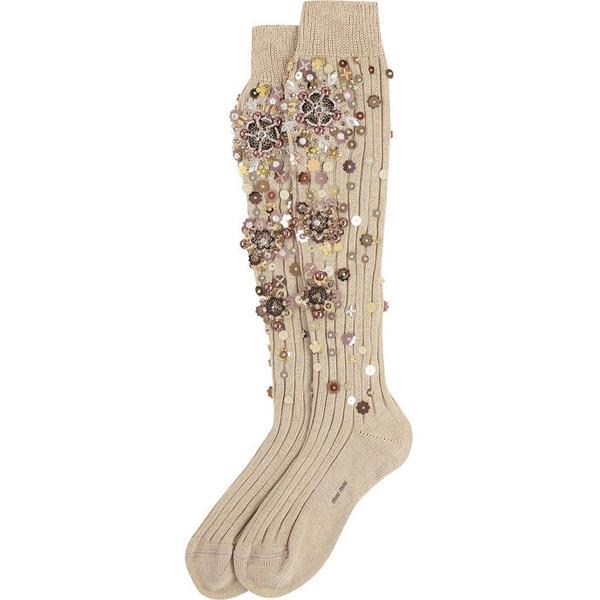 Miu Miu Embellished Cotton Knee Socks ($435) Liked On