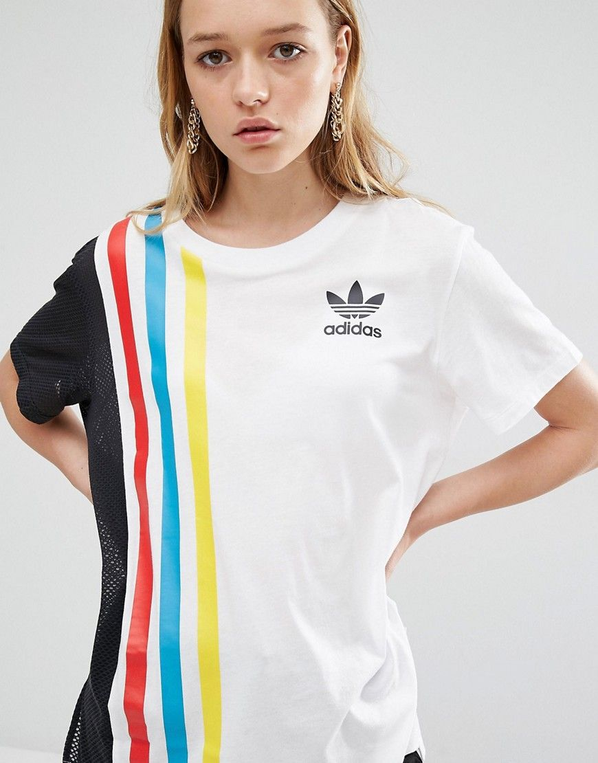 adidas Originals Primary Three Stripe Oversized T-Shirt With Mesh Insert