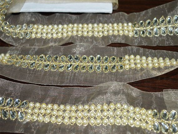9 Yards Latest Indian Zari Gold Bead double Row Pearl Lace Ethnic Trim Border