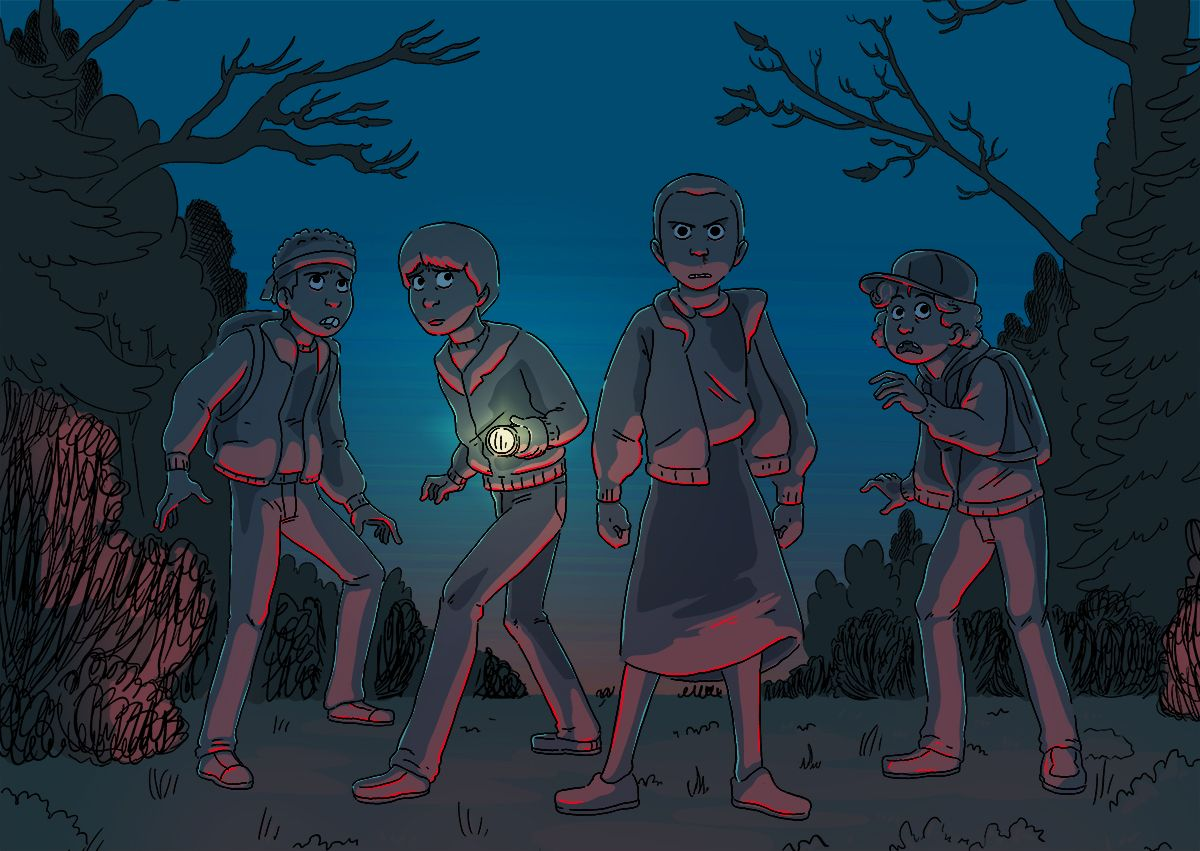 """""""Finished Stranger Things and I loved it. Eleven is really close to my heart."""" - Art by Katrina Sass. Lucas Sinclair, Mike Wheeler, Eleven, Dustin Henderson"""