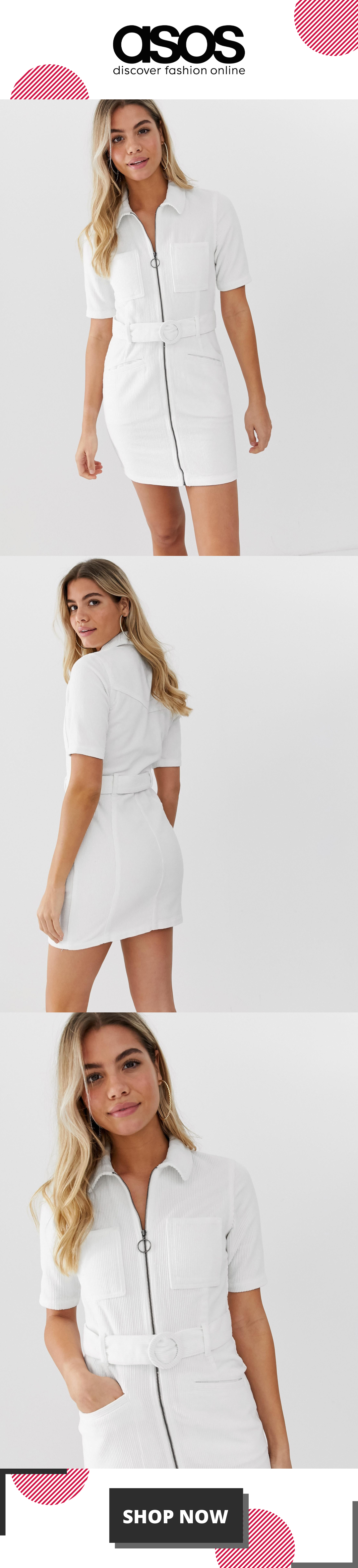 ASOS DESIGN cord mini dress with belt in white