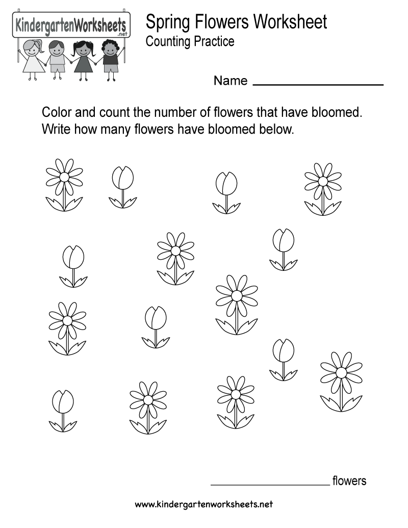 This Is A Fun Flower Counting Worksheet That Can Also Be A Coloring Page It Would Be A Worksheets For Kids Kindergarten Learning Free Kindergarten Worksheets [ 1035 x 800 Pixel ]