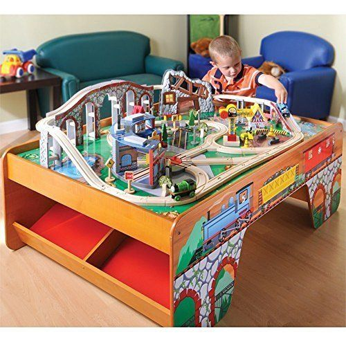 KidKraft Waterfall Mountain Train Set and Table & CP Toys Wooden Train Table with 100 pc. Track and Accessories Set ...