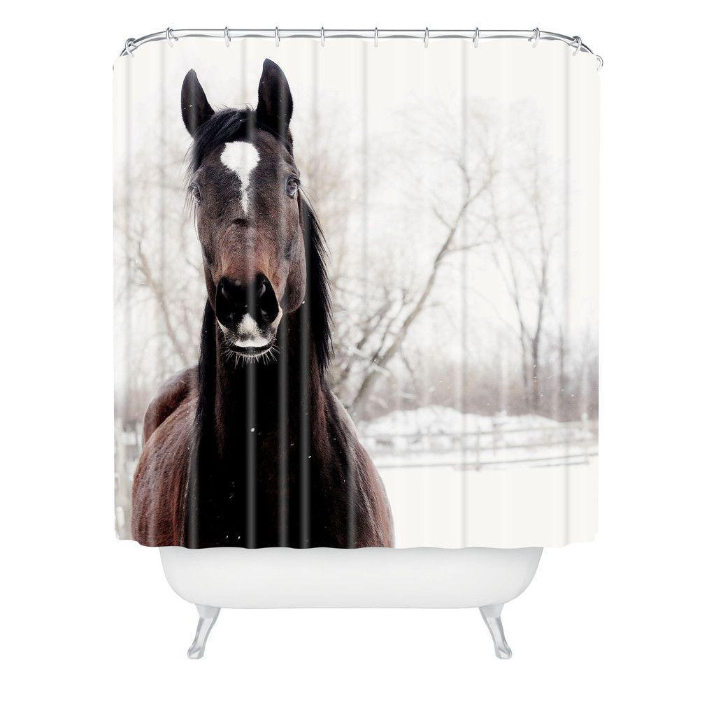 Chelsea Victoria Dark Horse Shower Curtain