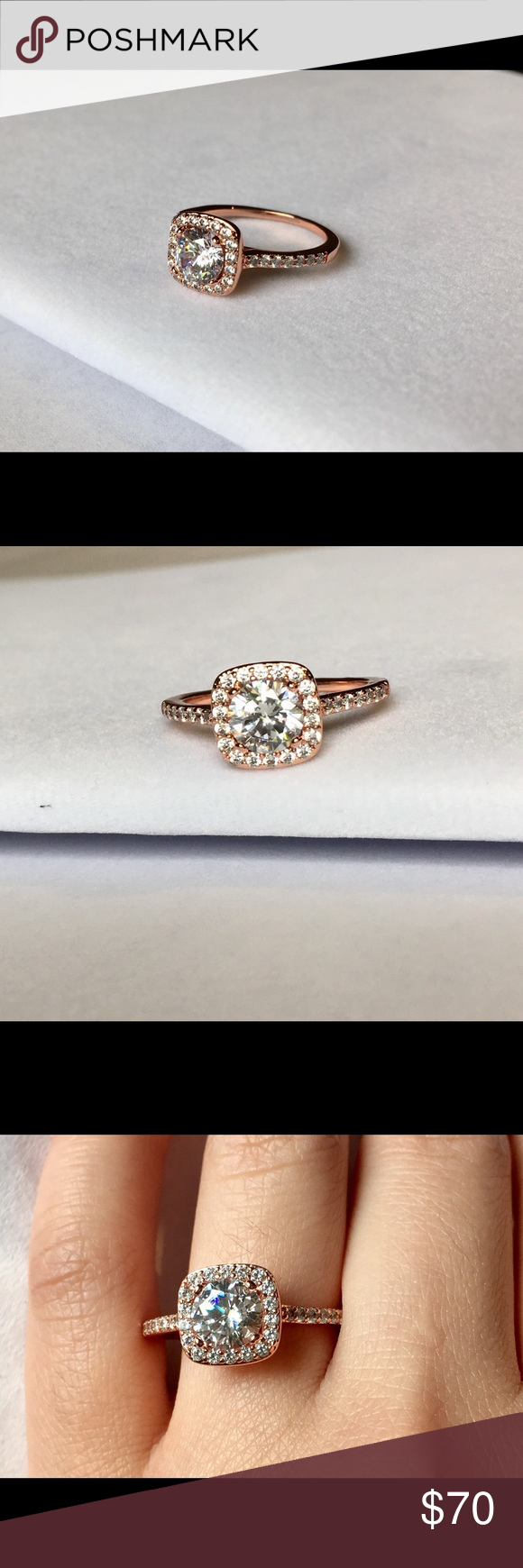 Swarovski 18K Rose Gold-Plate Engagement Ring Condition of this ring is new. Never been worn. Size  is 9.5. Rose gold color. 18k gold plating. Bandwidth 0.5cm. Lead and nickel free. Hypoallergenic. Jewelry Rings