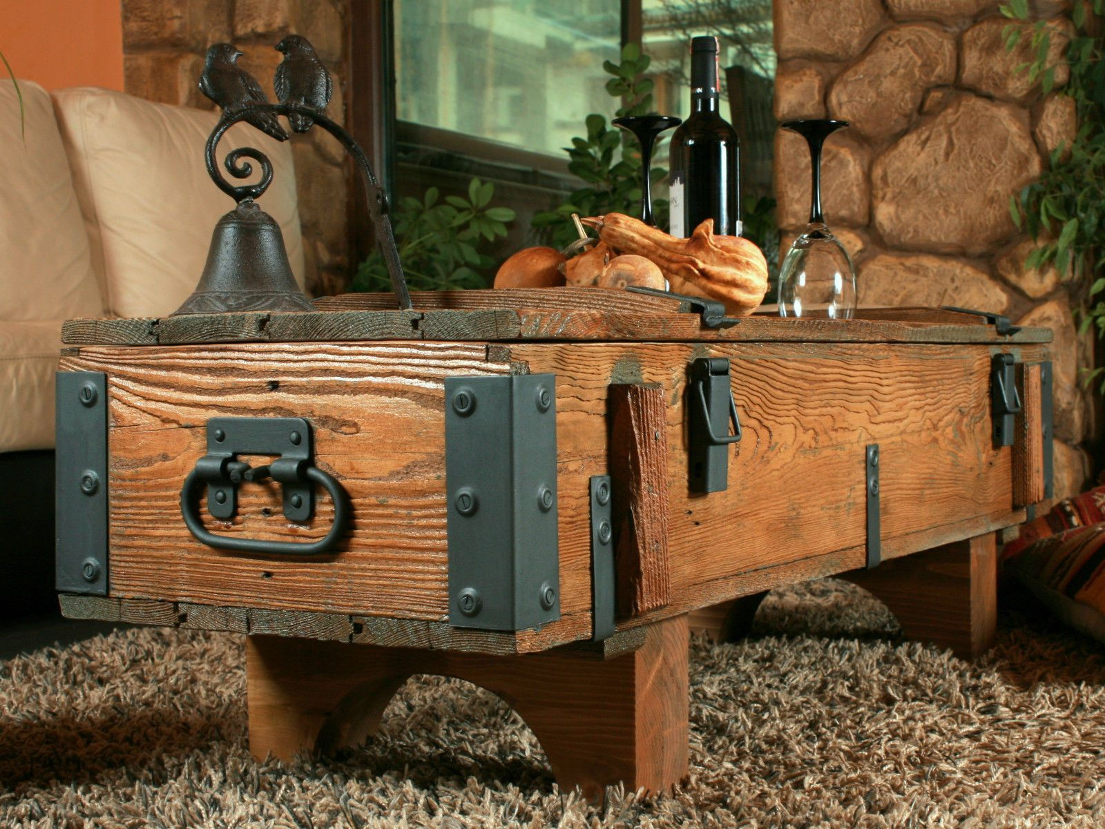 Large Rustic Wood Pine Chest Trunk Blanket Box Vintage Coffee Table ...