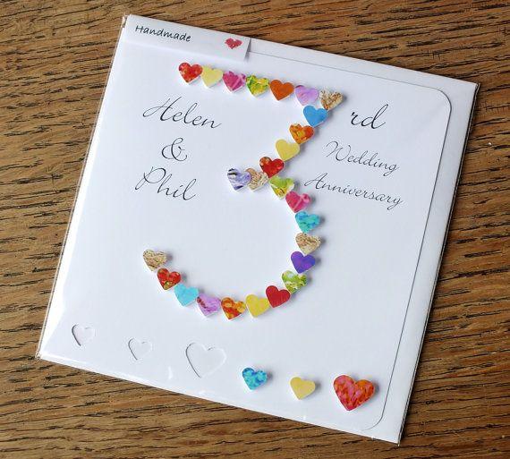 3rd wedding anniversary card  handmade  personalised 3rd