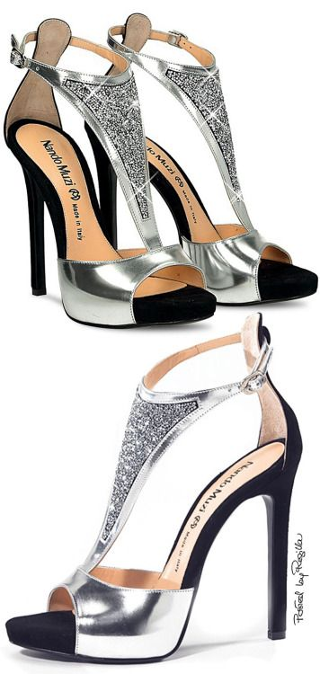 DesertRose,;,beautiful black and silver stylish shoes ,;,undefined,;,