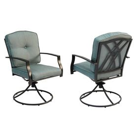 Garden Treasures Set Of 2 Cascade Creek Black Steel Swivel Patio Dining Chairs With Solid Blue Cushions