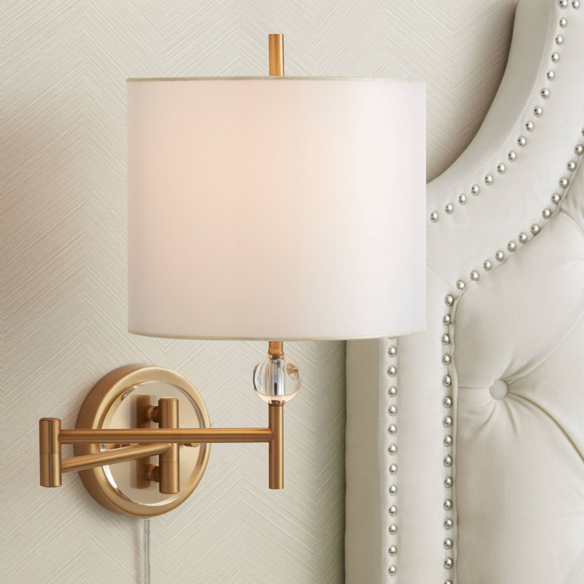 Kohle Brass And Acrylic Ball Swing Arm Plug In Wall Lamp With Cord Cover 1f058 Lamps Plus Swing Arm Wall Lamps Plug In Wall Lamp Wall Lamps With Cord