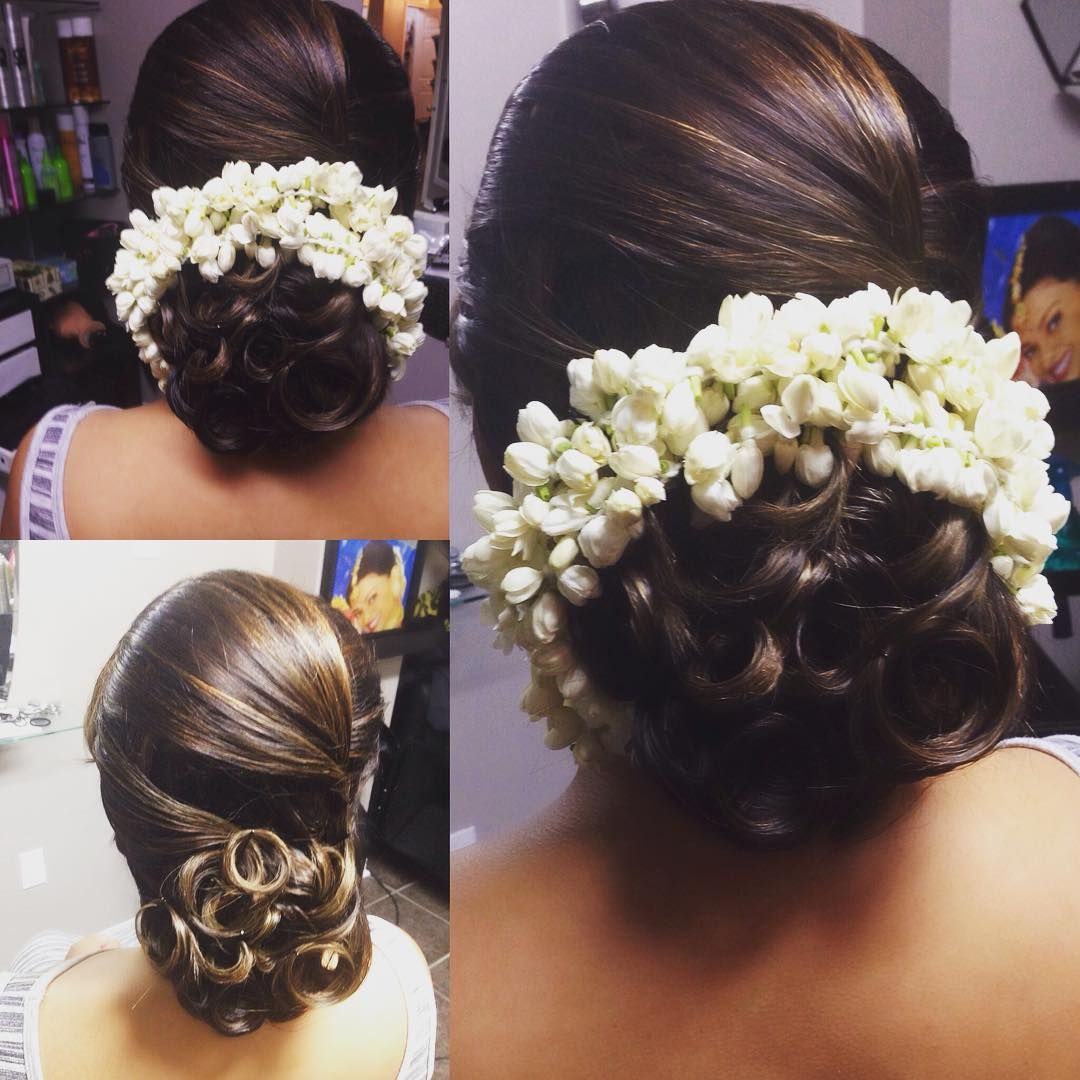 Preet On Instagram Hairstyle By Top Touch Hair Sarebear871 Hairdo Partyhairstyle Jasmineflower Bridal Hair Updo Hairdo Wedding Indian Wedding Hairstyles