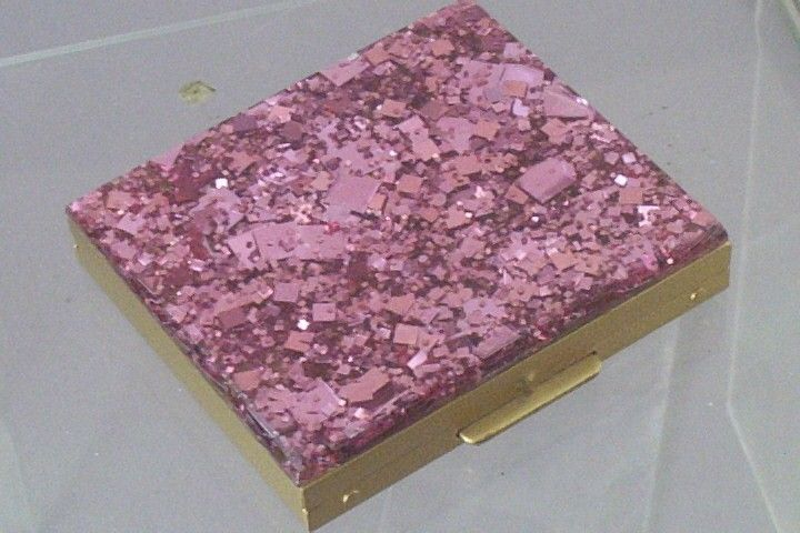 Vintage late 50's powder compact, with hot-pink confetti lucite top ~ accented with (lighter) pink mica chips.