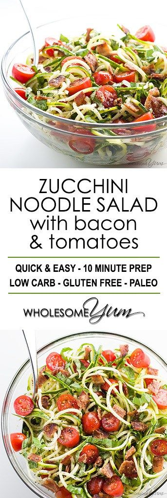 Paleo Zucchini Noodle Salad Recipe with Bacon & Tomatoes #LowCarb #GlutenFree