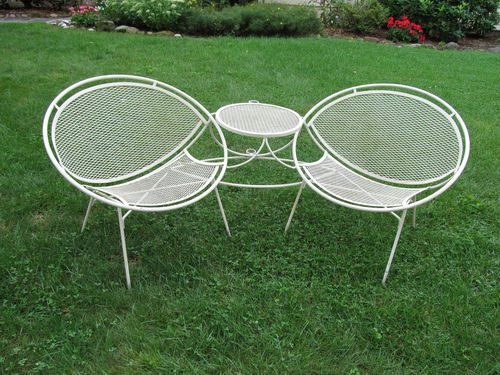Wonderful This Is A Gorgeous Vintage Salterini Clam Shell Tete. A Tete Is A Pair Of  Chairs With Connected Table And Umbrella Holder.