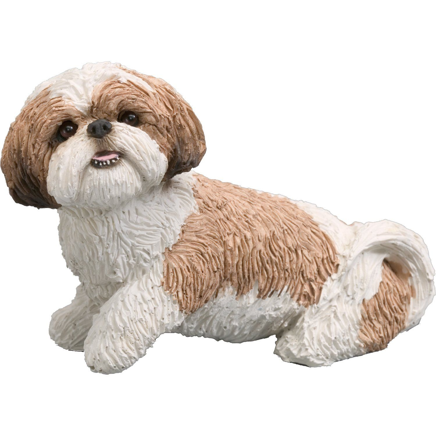 Com Sandicast Mid Size Gold And White Shih Tzu Sculpture Sitting