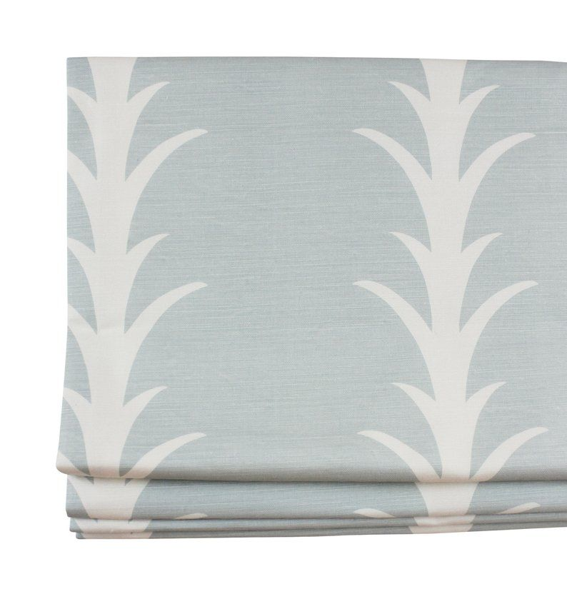 Schumacher Acanthus Stripe Custom Roman Shade (shown in