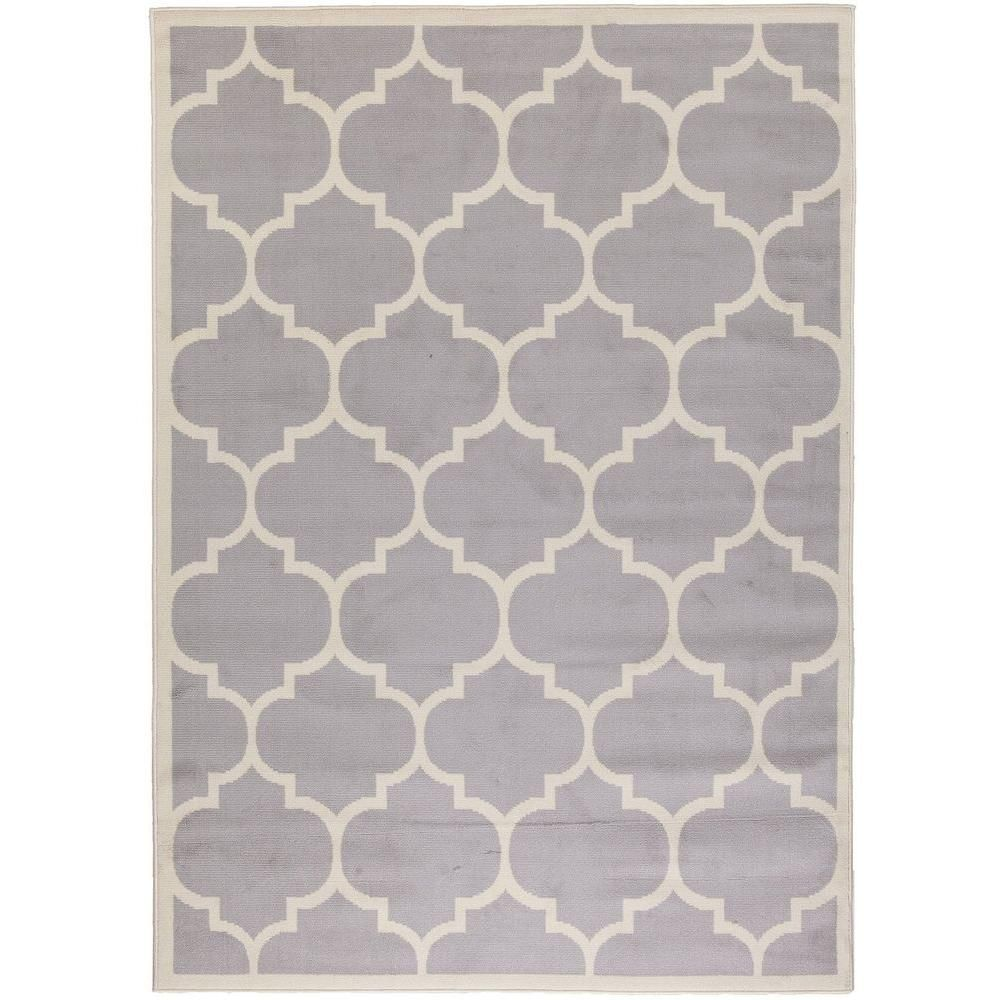 Contemporary Moroccan Trellis Gray 7 Ft 10 In X 9 Area Rug