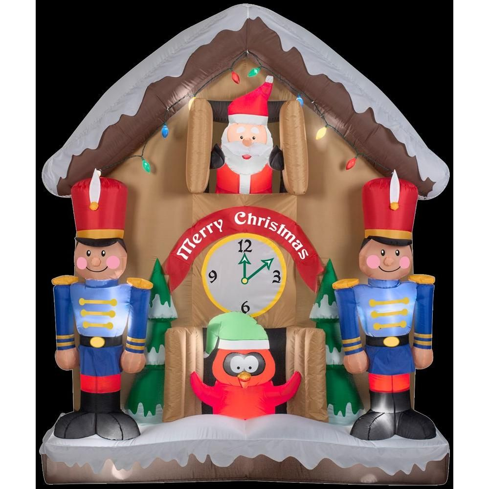h inflatable animated santa clock scene 19829x the home depot - Home Depot Inflatable Christmas Decorations