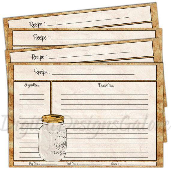 Printable Recipe Cards Pdf 4x6 Size Diy Recipe Cards Mason Jar