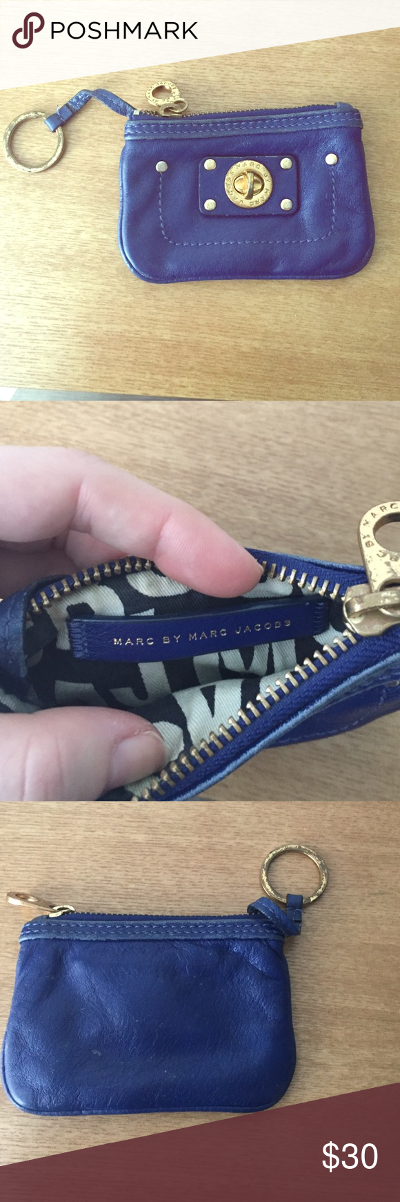 Marc Jacobs blue mini wallet Leather mini wallet with attachable key chain with gold hardware Marc by Marc Jacobs Accessories Key & Card Holders
