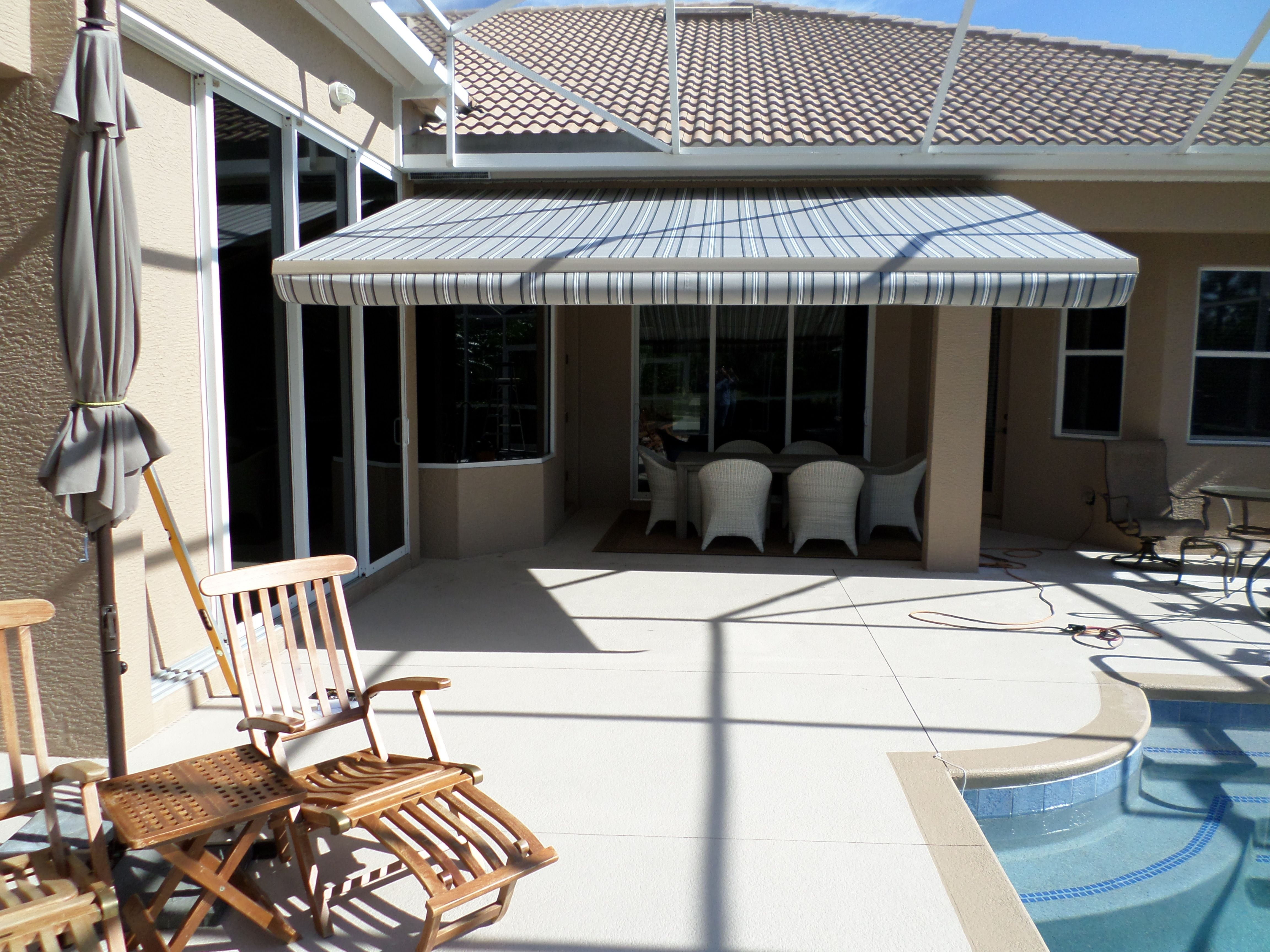 A Shady Spot By The Pool Under A New Awning By Shade And Shield Of Sarasota Fl Awning Retractable Awning Shutters