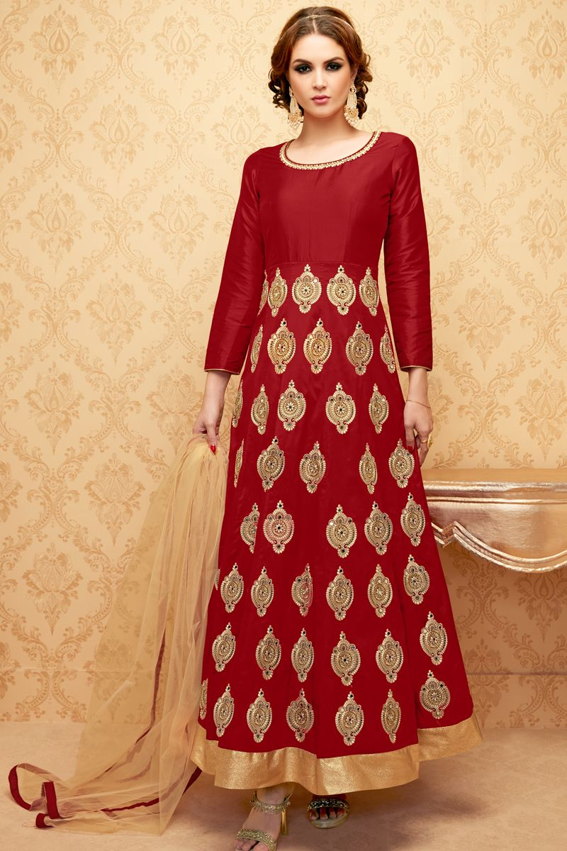 Brown stylish eid special party wear anarkali suit with embroidary