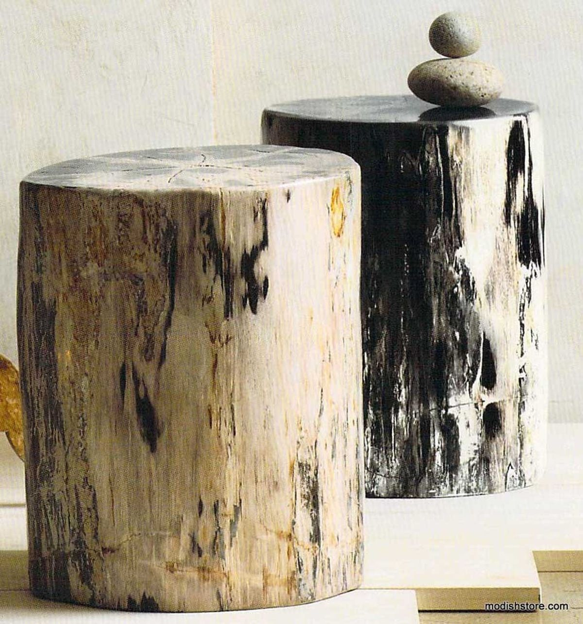 Roost Petrified Wood Stools are made from polished sections of these fossilized logs. The stools are naturally unique and vary in dimension and color. Organic material